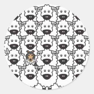 Shetland Sheepdog in the Sheep Classic Round Sticker