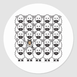 Shetland Sheepdog in the Sheep Round Stickers