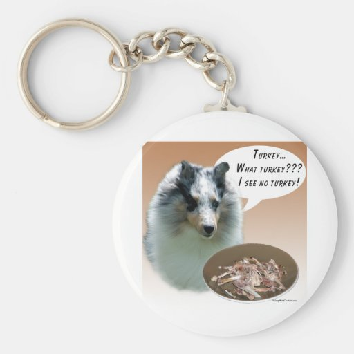 Shetland Sheepdog (merle) Turkey Basic Round Button Keychain