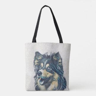 Shetland Sheepdog Painting All-Over-Print Tote Bag