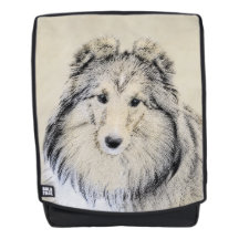 Bolsa de hombro para perro Shetland Sheepdog Sheltie Silhouette Sheltie Dog Sheltie Bag Reporter