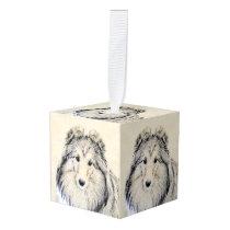 Shetland Sheepdog Painting - Cute Original Dog Art Cube Ornament