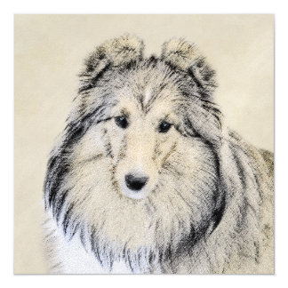 Shetland Sheepdog Painting - Cute Original Dog Art Magnetic Card