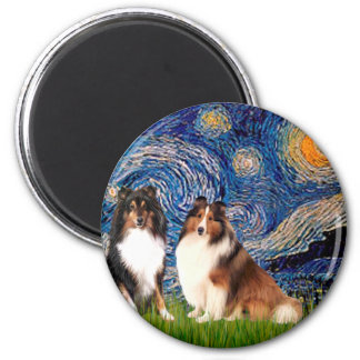 Shetland Sheepdog Pair - Starry Night Magnet