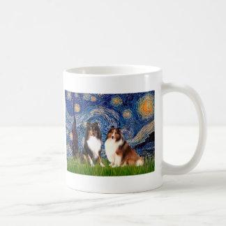 Shetland Sheepdog Pair - Starry Night Classic White Coffee Mug
