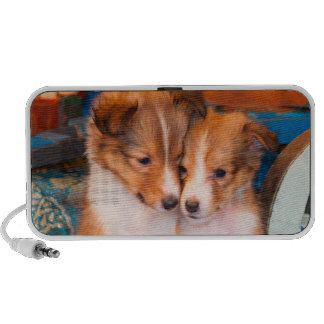 Shetland Sheepdog puppies sitting by wooden wagon Speakers