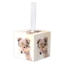 Shetland Sheepdog Puppy Painting Original Dog Art Cube Ornament