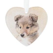 Shetland Sheepdog Puppy Painting Original Dog Art Ornament