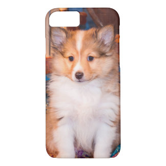 Shetland Sheepdog puppy sitting by small wagon iPhone 8/7 Case