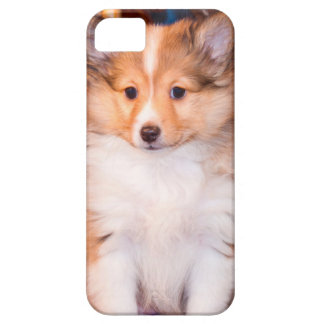 Shetland Sheepdog puppy sitting by small wagon iPhone SE/5/5s Case