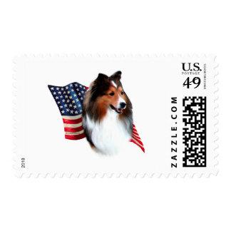 Shetland Sheepdog (sable) Flag Stamps
