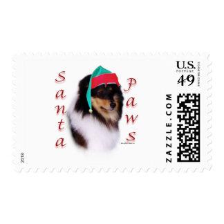 Shetland Sheepdog Santa Paws Postage Stamps