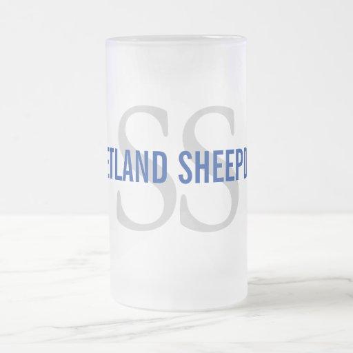 Shetland Sheepdog (Sheltie) Breed Monogram Design 16 Oz Frosted Glass Beer Mug