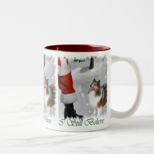 Shetland Sheepdog Sheltie Christmas Gifts Two-Tone Coffee Mug