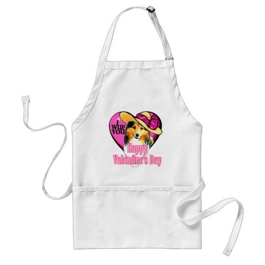 Shetland Sheepdog Sheltie Valentines Adult Apron