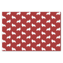 Shetland Sheepdog Silhouettes Pattern Red Tissue Paper