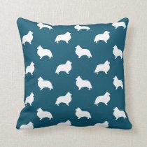 Shetland Sheepdog Silhouettes Pattern Throw Pillow