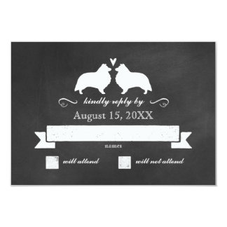 Shetland Sheepdog Silhouettes Wedding RSVP Reply Card