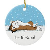 Shetland Sheepdog Snow Dog - Sheltie Holiday Christmas Ornament