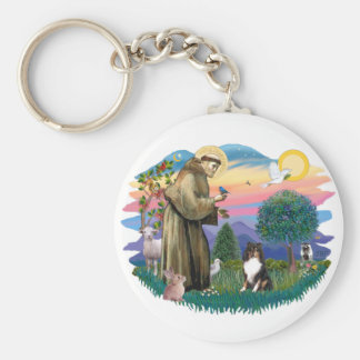Shetland Sheepdog (tri color) Basic Round Button Keychain