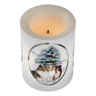 Shetland Sheepdog Trio Christmas Flameless Candle