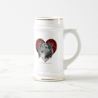 Shetland Sheepdog with Heart Beer Stein