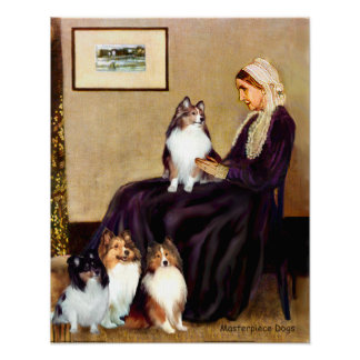 Shetland Sheepdogs (four) - Whistlers Mother Poster