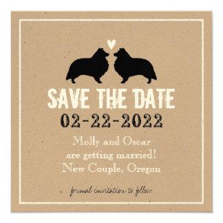 Shetland Sheepdogs Wedding Save the Date Card