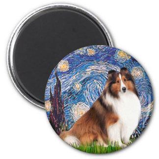 Shetlanld Sheepdog 7 - Starry Night Refrigerator Magnet