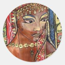 artsprojekt, portrait, sticker, design, sheva, queen, ethnic, java, solomon, woman, modern, religious, bible, art, painting, reina, lady, female, Sticker with custom graphic design