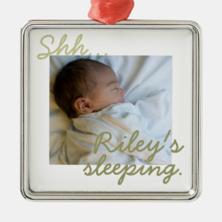 """Shh...(baby) is sleeping"" Premium Doorknob Hanger Metal Ornament"