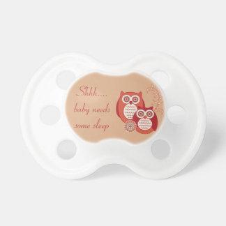 Shh...Baby Needs Some Sleep Owl Pacifier - Rust