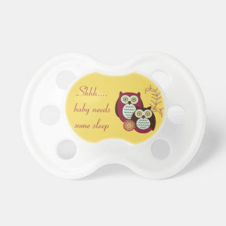 Shh...Baby Needs Some Sleep Owl Pacifier - Yellow BooginHead Pacifier