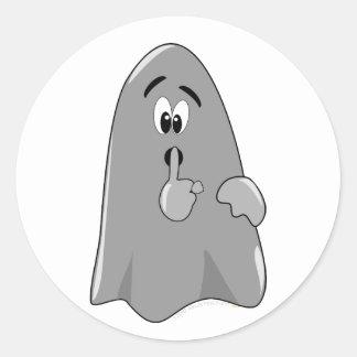 Shh Cartoon Ghost Cute Secret  Halloween Classic Round Sticker