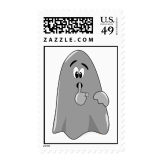 Shh Cartoon Ghost Cute Secret  Halloween Postage