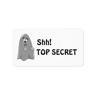 Shh Cartoon Ghost Top Secret Halloween Label