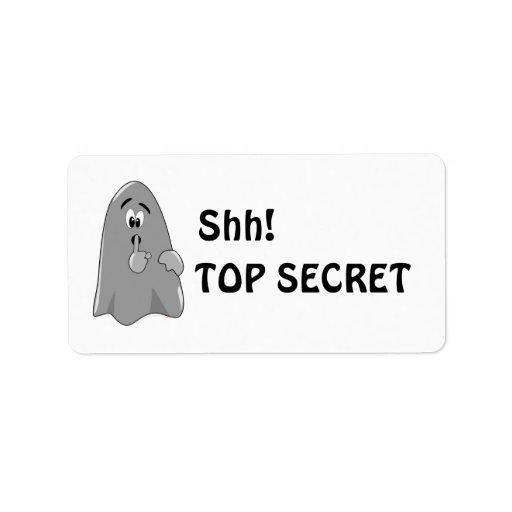 Shh Cartoon Ghost Top Secret Halloween Address Label