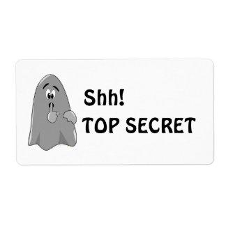 Shh Cartoon Ghost Top Secret Halloween Custom Shipping Label