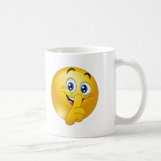 Shh emoji taza de café