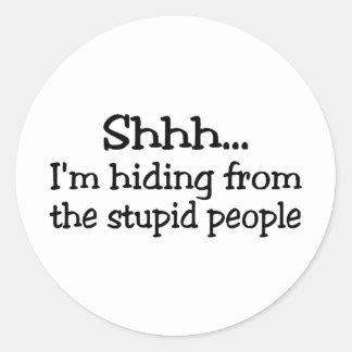 Shh Im que oculta de la gente estúpida Etiquetas Redondas