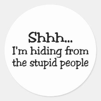 Shh Im que oculta de la gente estúpida Pegatinas Redondas