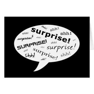 SHH! it's a surprise party! : comic speech bubble Card
