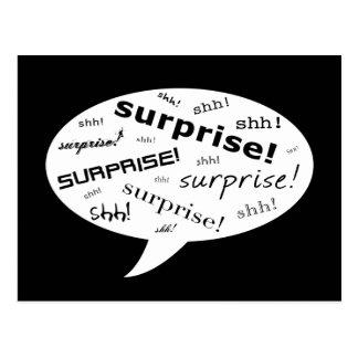 SHH! it's a surprise party! : comic speech bubble Postcard