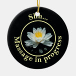 Shh... Massage in progress Door Sign Double-Sided Ceramic Round Christmas Ornament