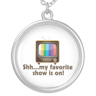 Shh My Favorite Show Is On Television Silver Plated Necklace