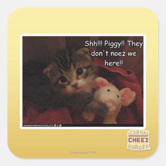 Shh!!! Piggy!! Square Sticker