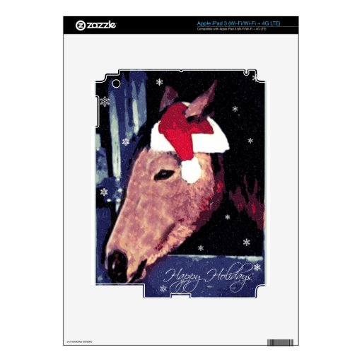 SHH! Snowy Holiday Horse Decals For iPad 3