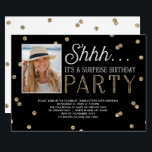 """Shh Surprise Bday Party Glitter Photo Invitation<br><div class=""""desc"""">This chic and stylish Surprise Birthday Party invitation features an elegant faux gold glitter confetti theme with modern typography that is great for any age. Customize with photo. *Please note that this is not actual glitter and will be printed flat. For an even more memorable invitation select a die-cut shape,...</div>"""