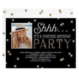 Shh Surprise Bday Party Glitter Photo Invitation