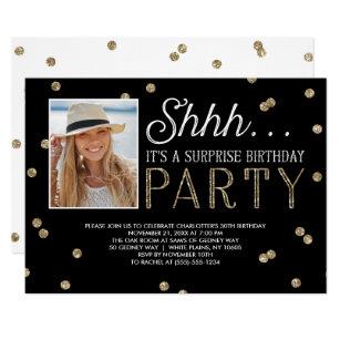 Surprise birthday invitations zazzle shh surprise bday party glitter photo invitation filmwisefo